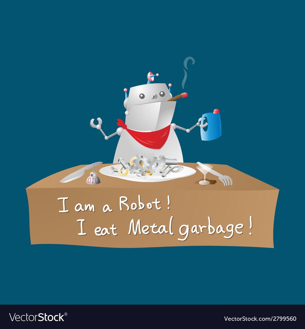 Robot eating metal garbage vector | Price: 1 Credit (USD $1)