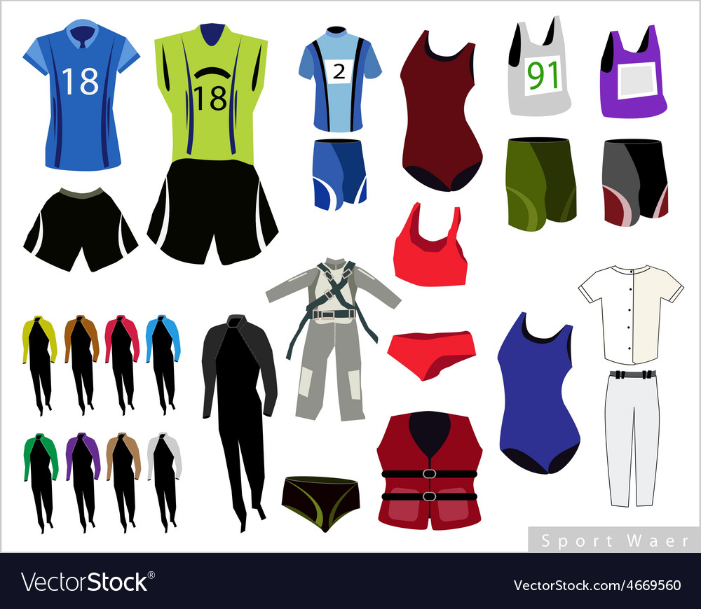 Set of sport waers on white background vector   Price: 1 Credit (USD $1)
