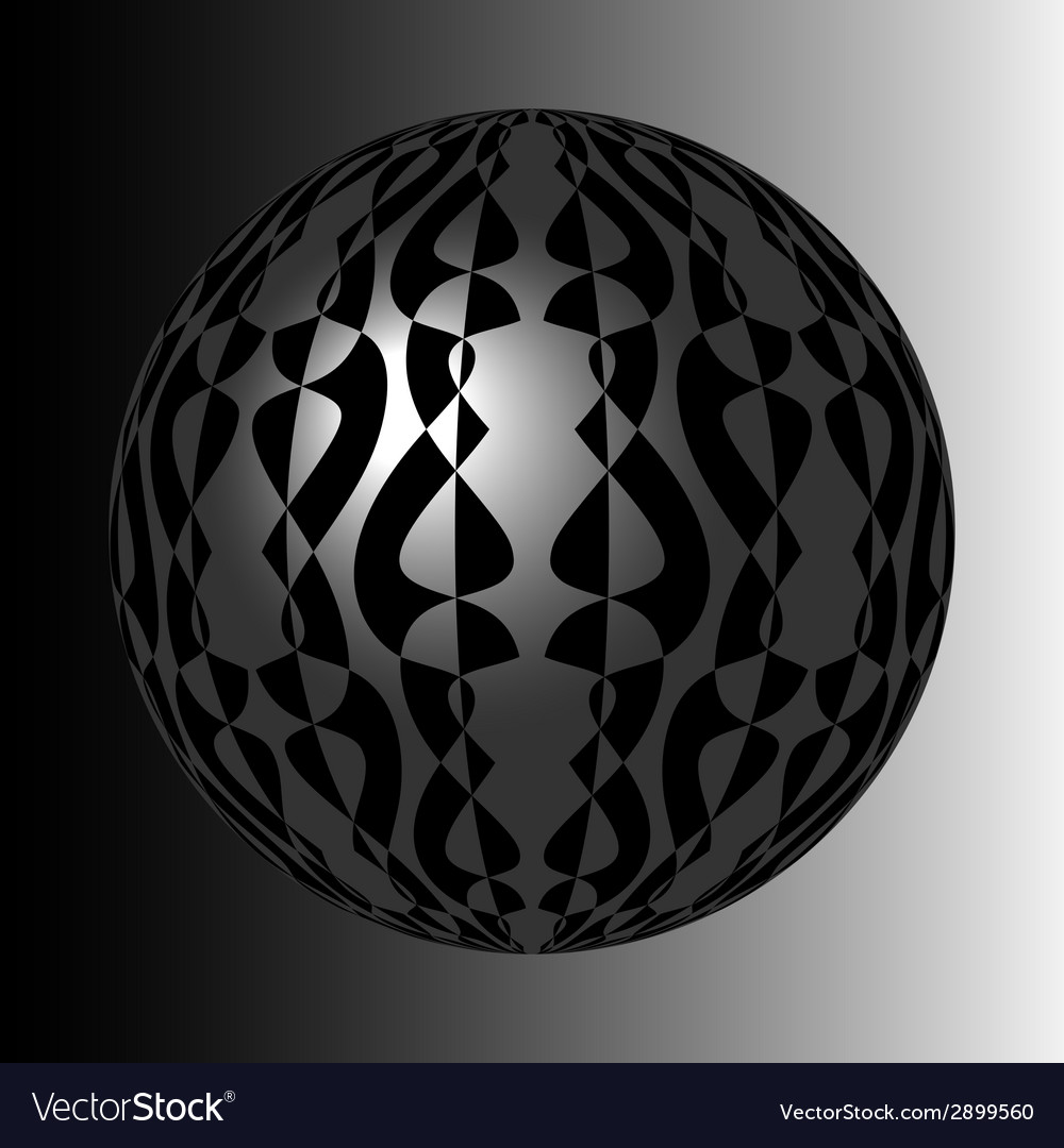 Shiny silver sphere with black pattern vector | Price: 1 Credit (USD $1)