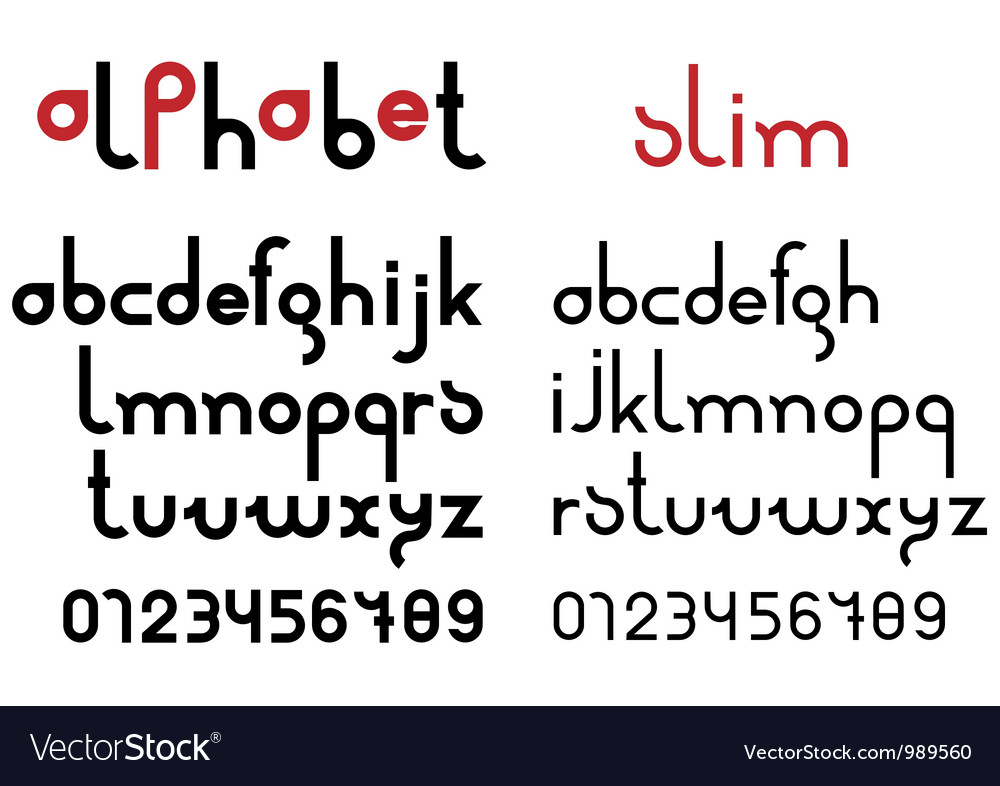 Slim black font and numbers vector | Price: 1 Credit (USD $1)