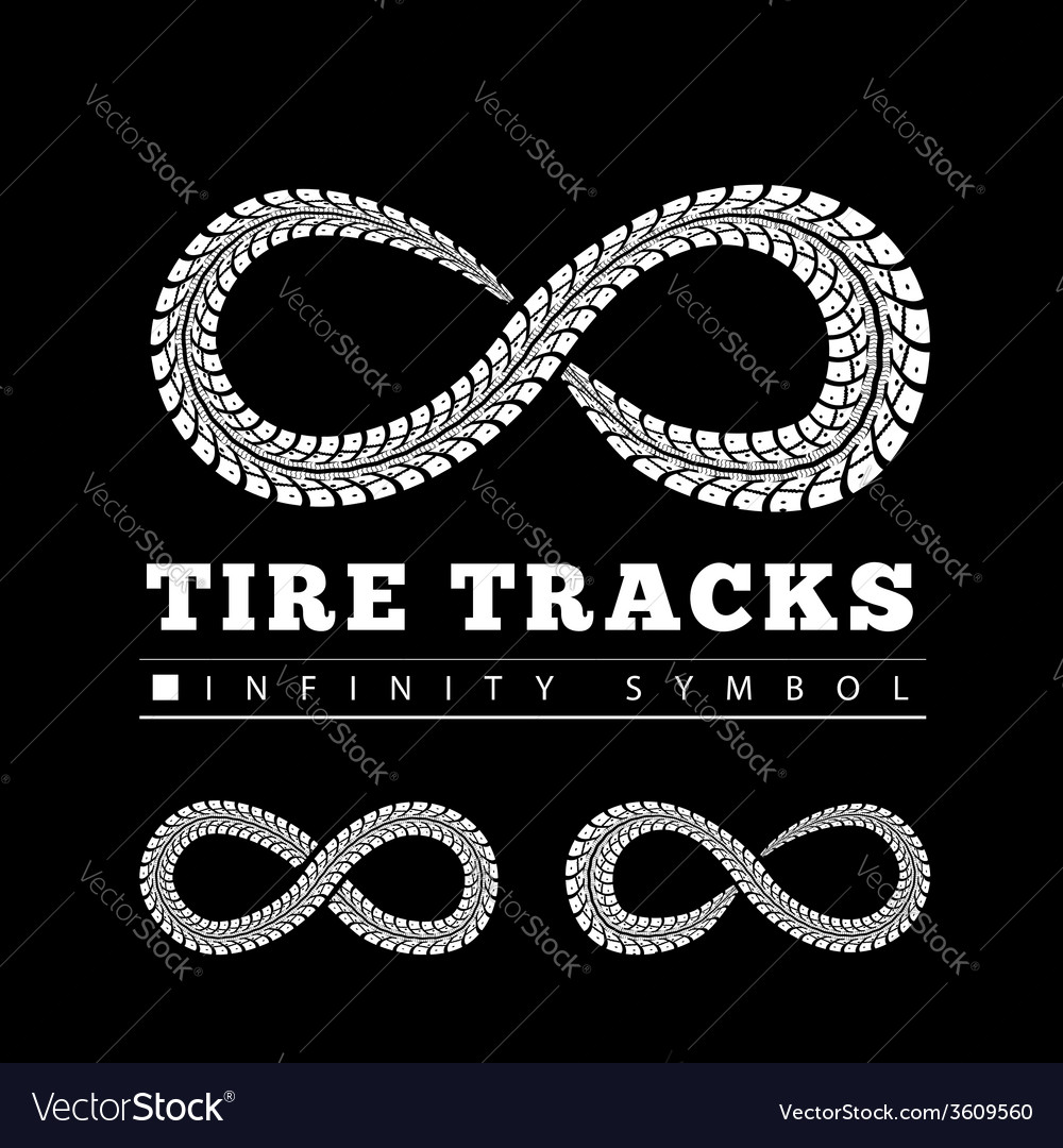 Tire tracks in infinity form vector | Price: 1 Credit (USD $1)