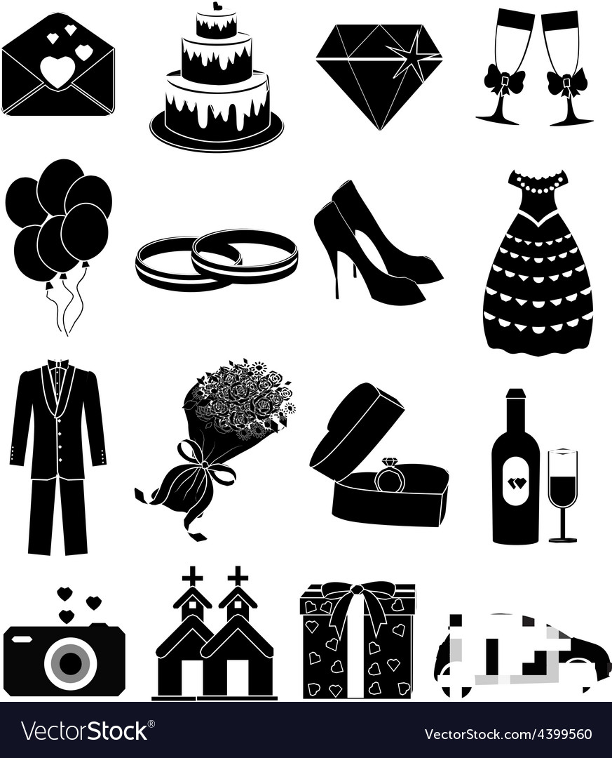 Wedding day icons set vector | Price: 1 Credit (USD $1)