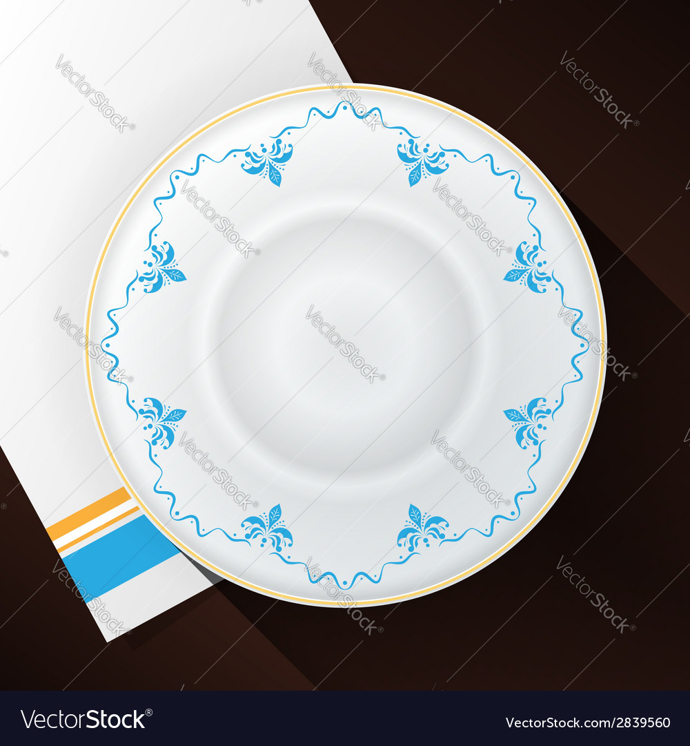 White plate with a blue pattern vector | Price: 1 Credit (USD $1)
