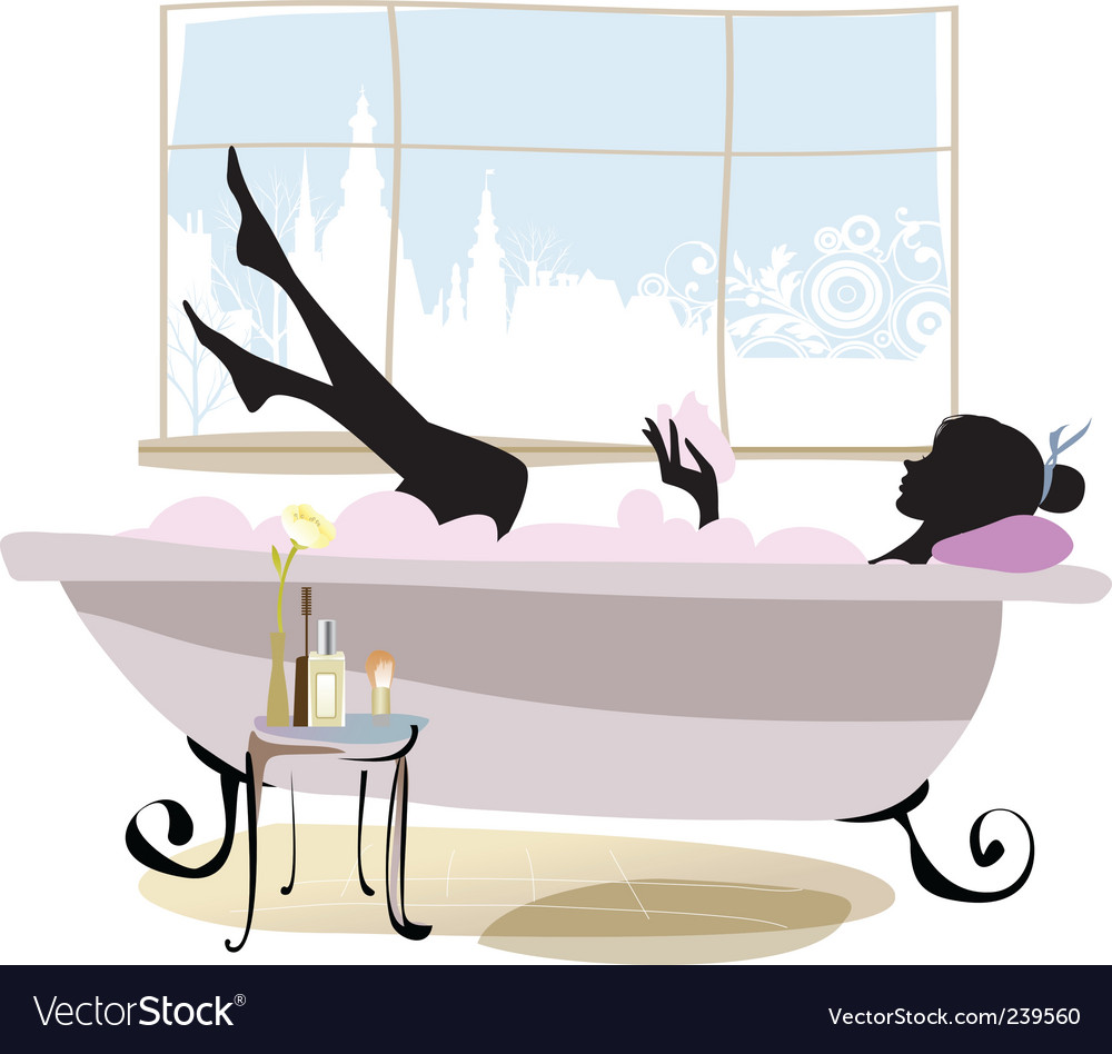 Woman in bathtub vector | Price: 1 Credit (USD $1)