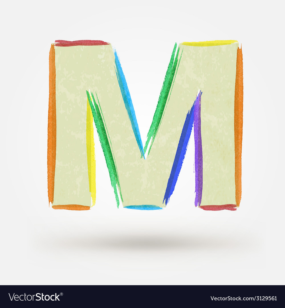 Alphabet letter m watercolor paint design element vector | Price: 1 Credit (USD $1)