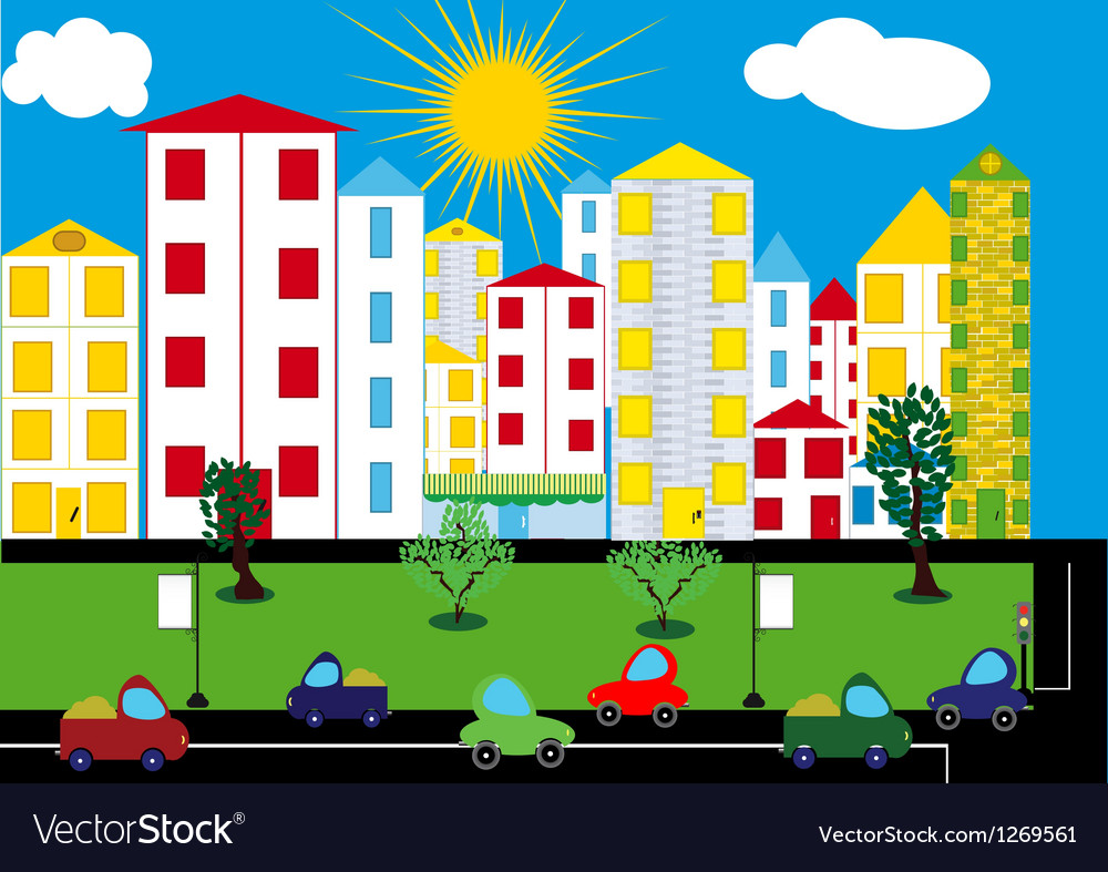 Color city background vector | Price: 1 Credit (USD $1)