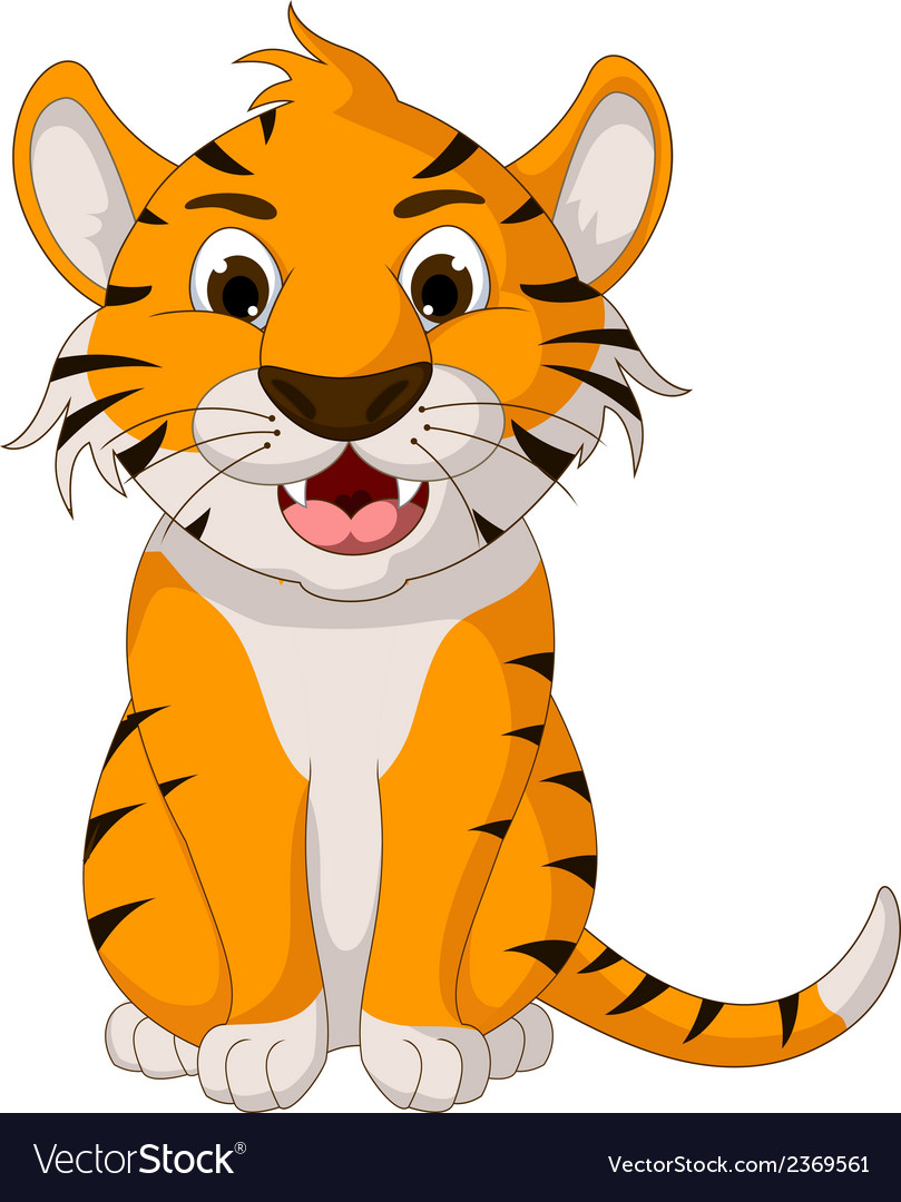 Cute tiger cartoon sitting vector | Price: 1 Credit (USD $1)