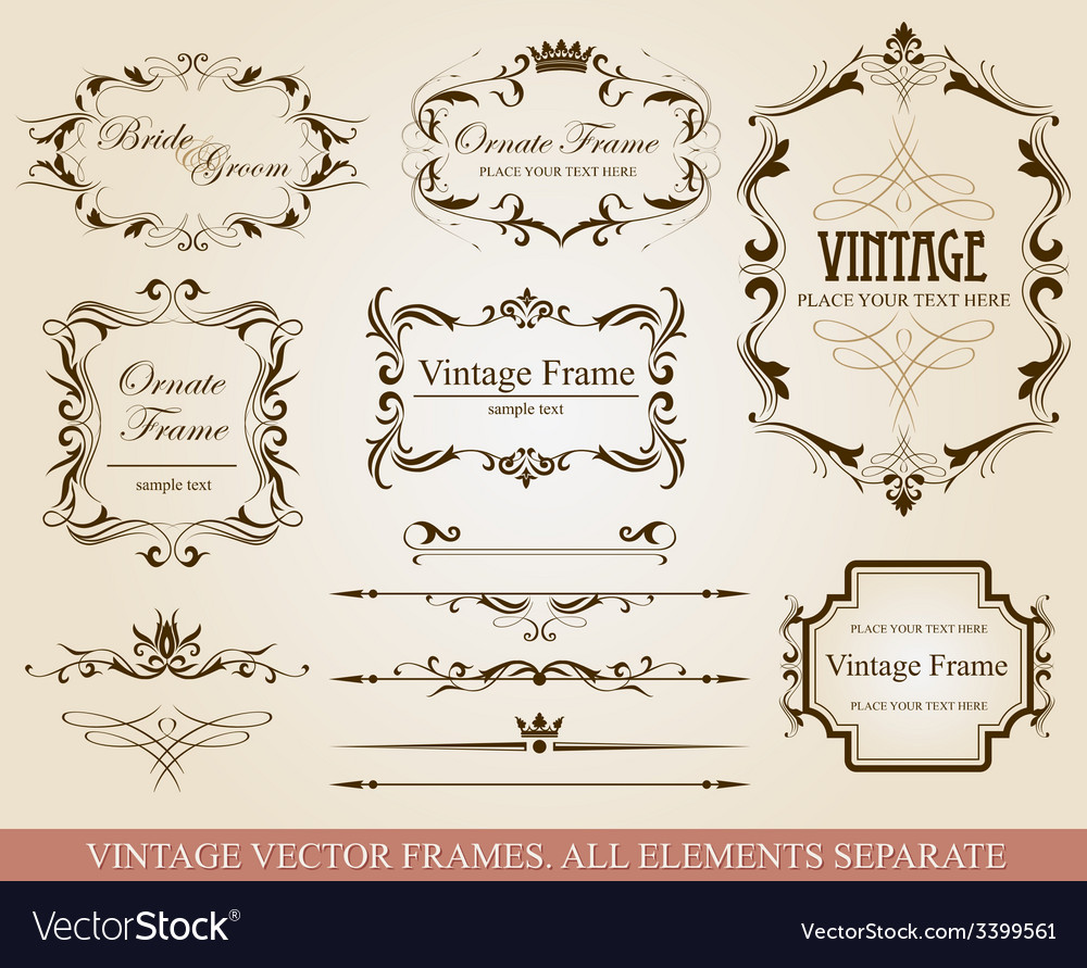 Different vintage frames vector | Price: 3 Credit (USD $3)