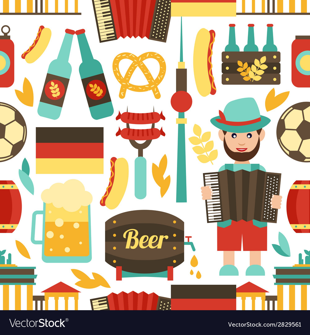 Germany travel seamless pattern vector | Price: 1 Credit (USD $1)