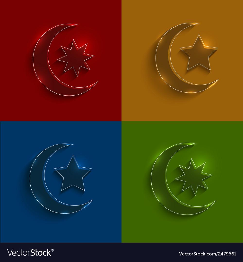 Glass ramadan icons set vector | Price: 1 Credit (USD $1)