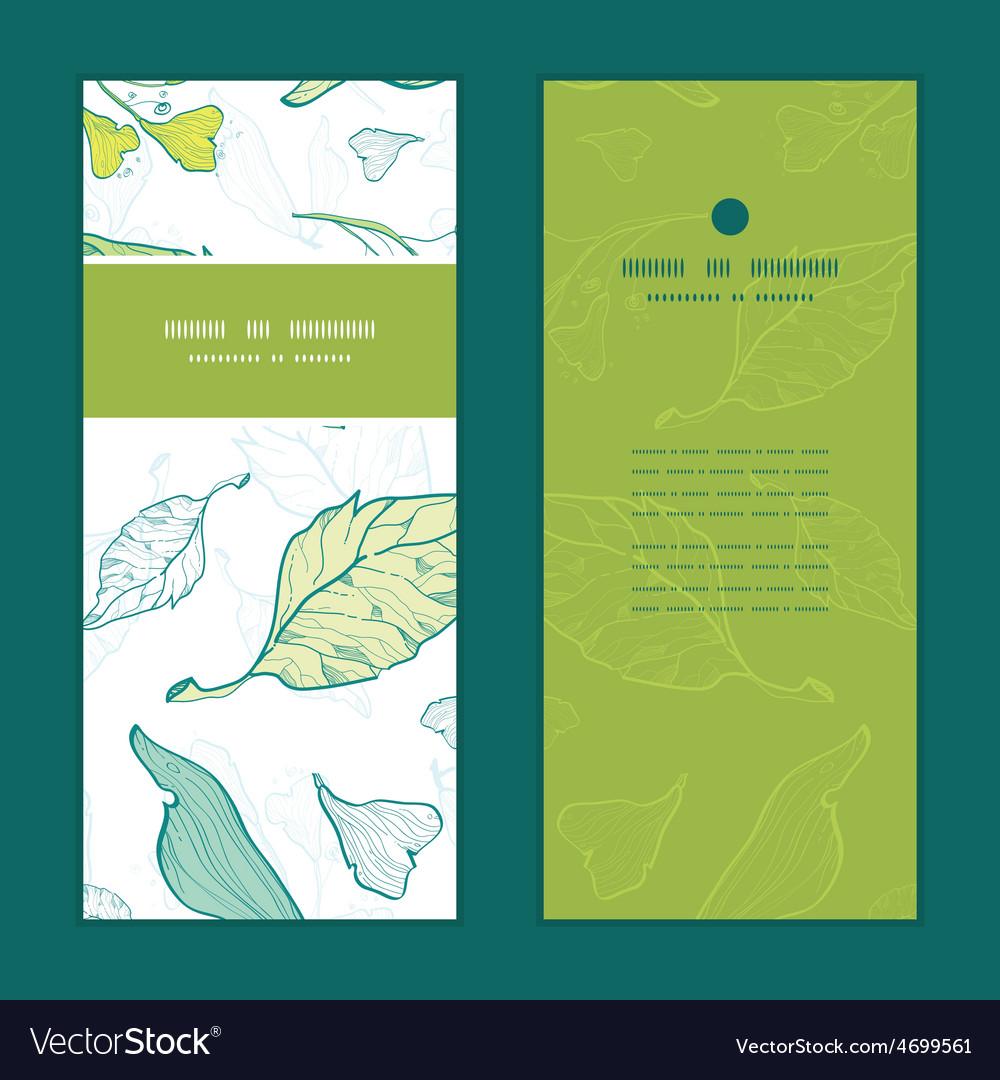 Lineart spring leaves vertical frame vector | Price: 1 Credit (USD $1)
