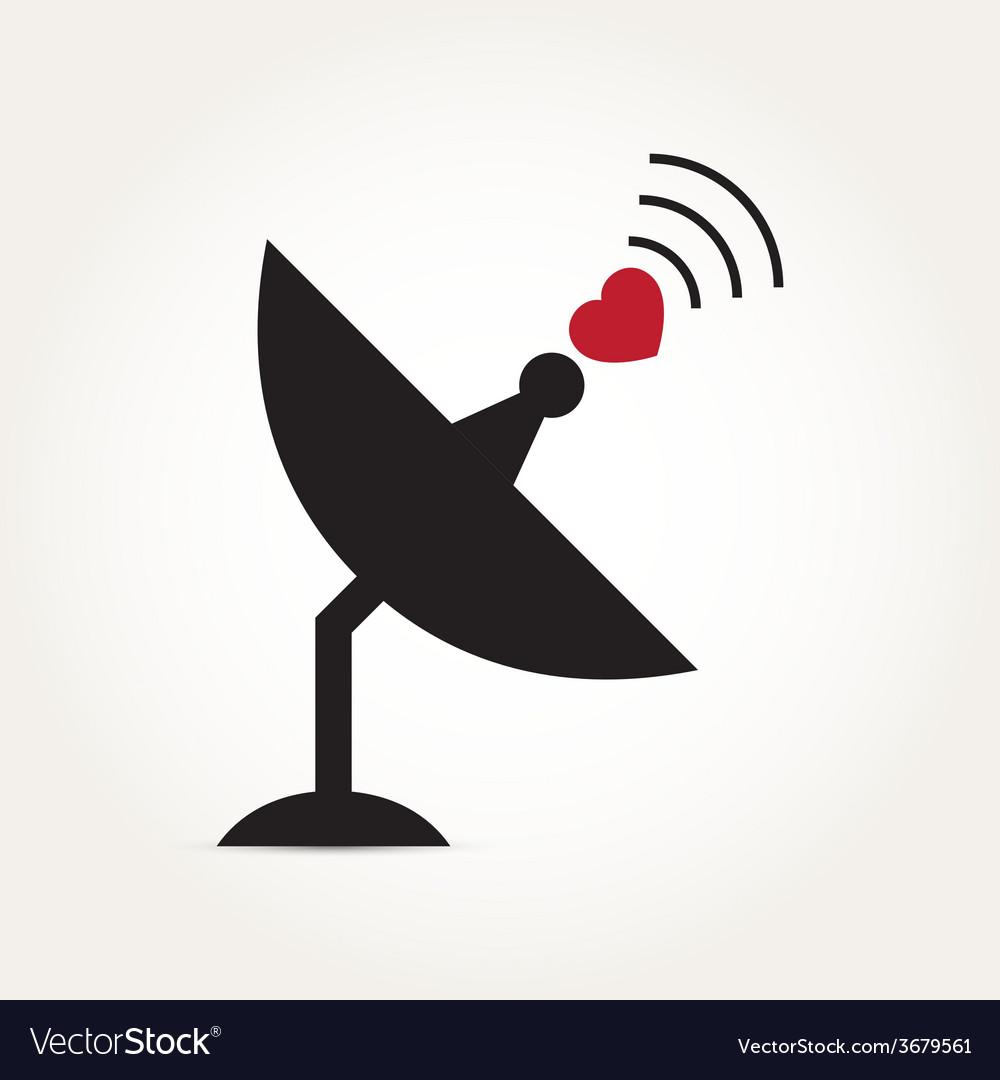 Love heart satellite dish vector | Price: 1 Credit (USD $1)
