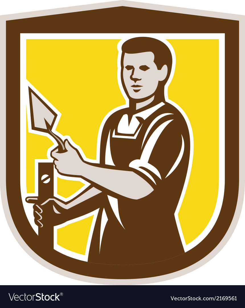 Mason masonry worker trowel shield retro vector | Price: 1 Credit (USD $1)