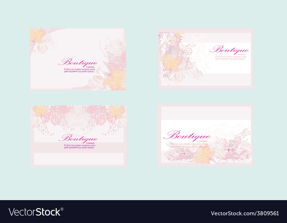 Pink business floral card set vector | Price: 1 Credit (USD $1)