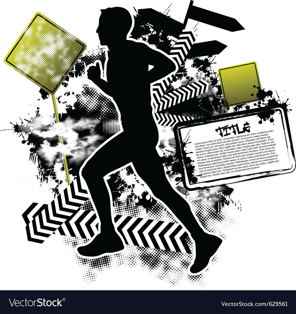Running grunge vector | Price: 1 Credit (USD $1)