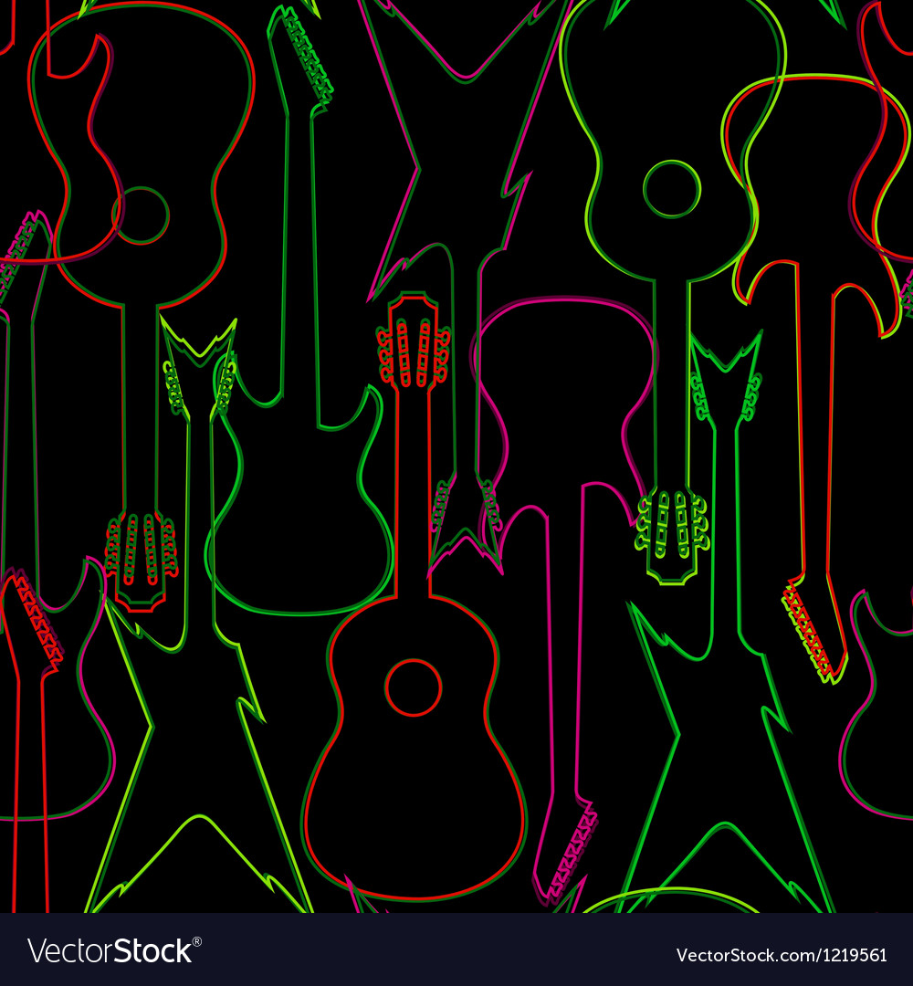 Seamless pattern with guitar silhouettes vector | Price: 1 Credit (USD $1)