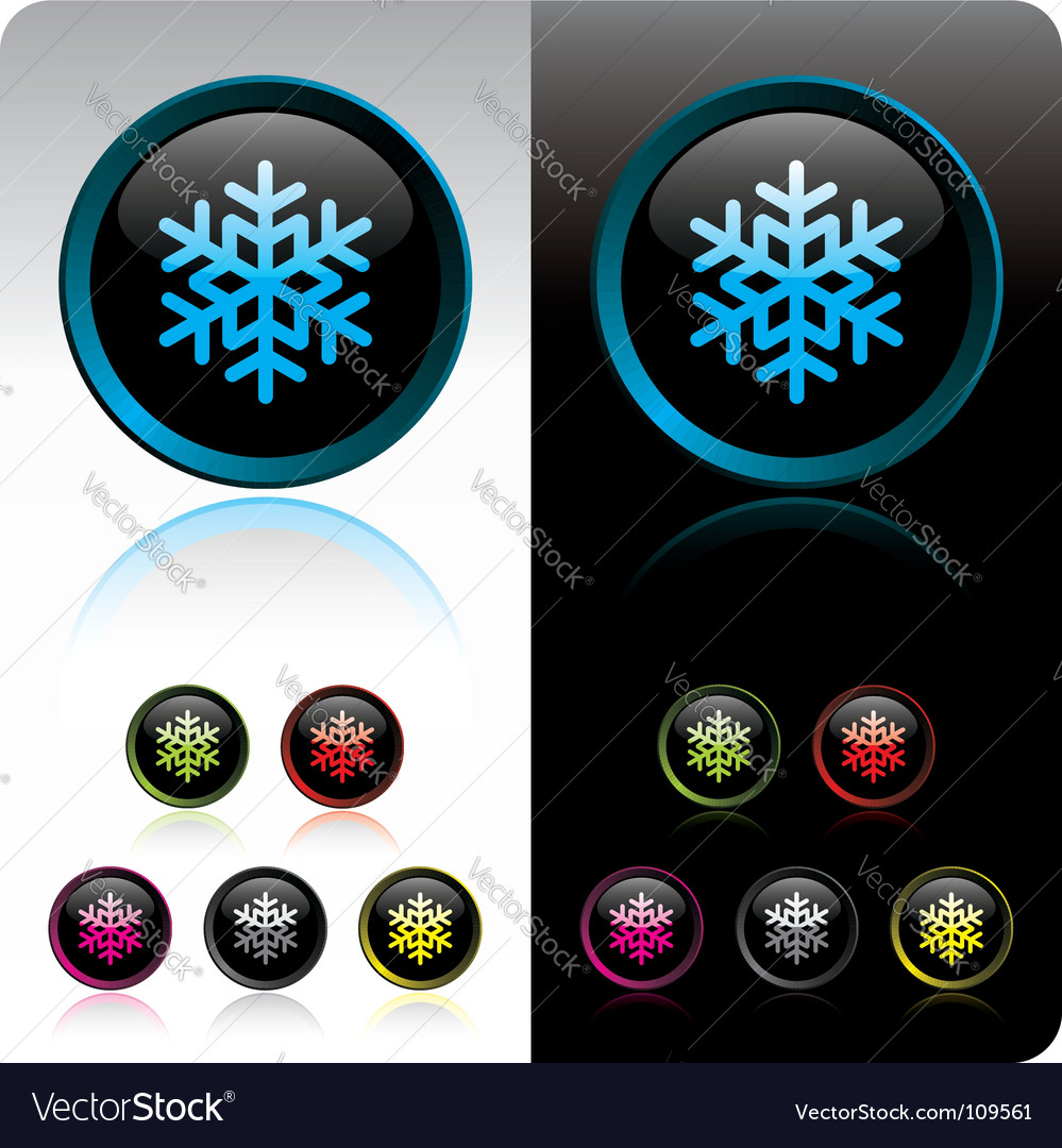 Shiny snowflake button vector | Price: 1 Credit (USD $1)