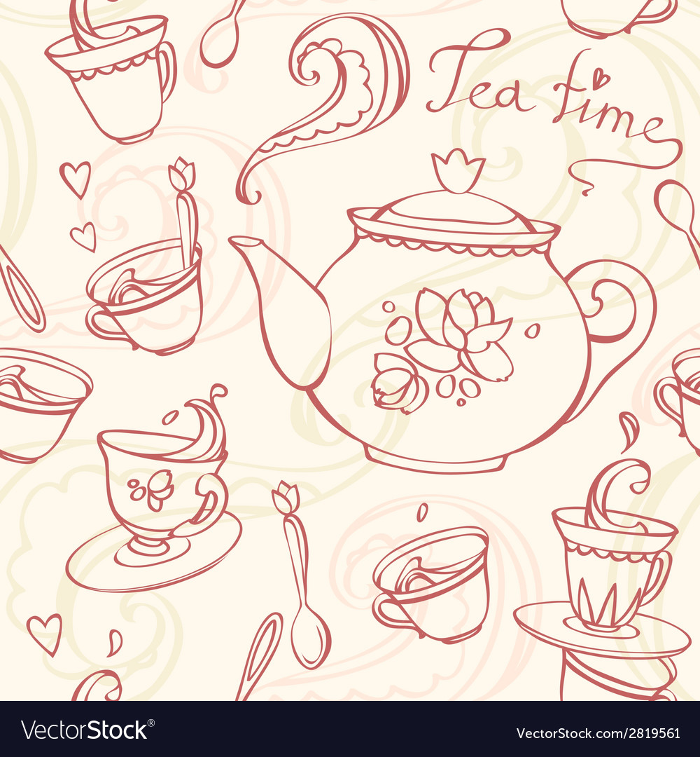 Teatime seamless pattern with teapot and mugs vector | Price: 1 Credit (USD $1)