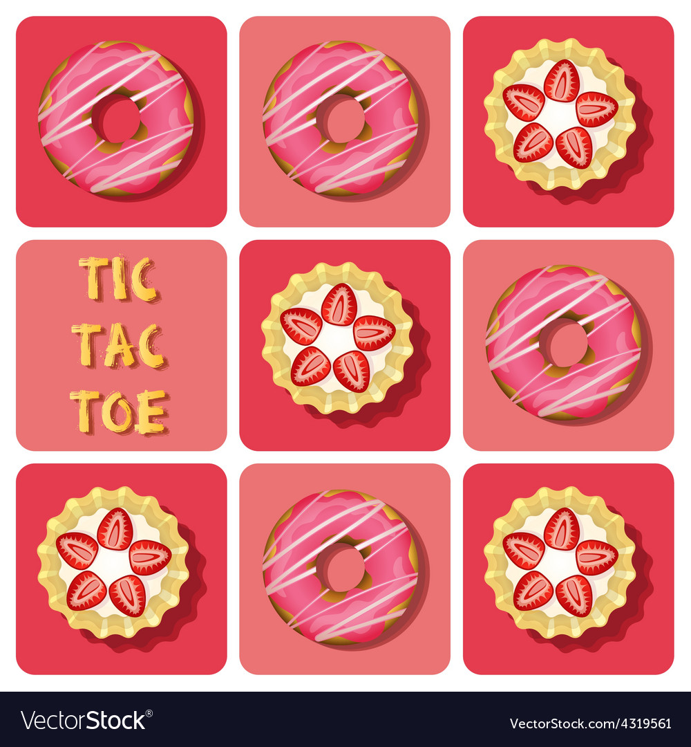 Tic-tac-toe of strawberry tart and donut vector | Price: 1 Credit (USD $1)