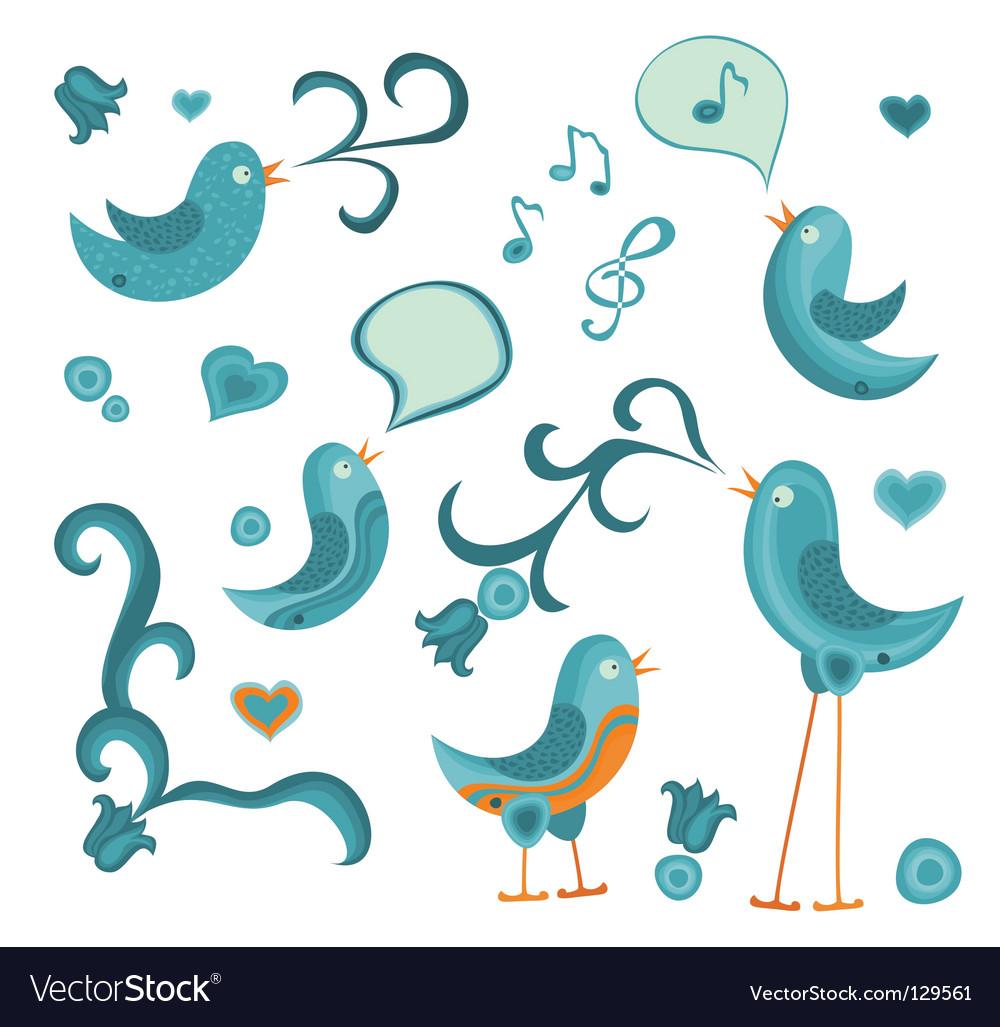 Tweeting birds vector | Price: 1 Credit (USD $1)