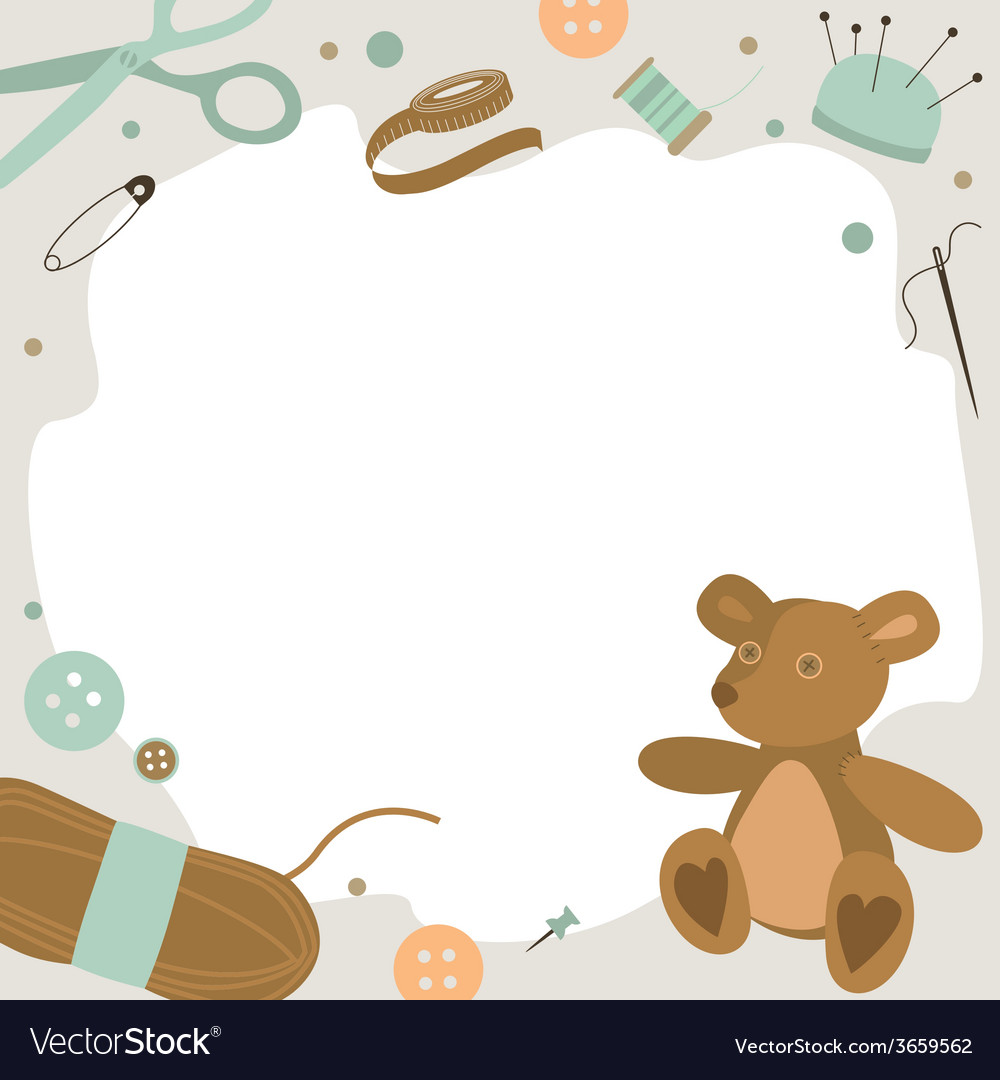 Background with sewing tools and teddy bear vector | Price: 1 Credit (USD $1)