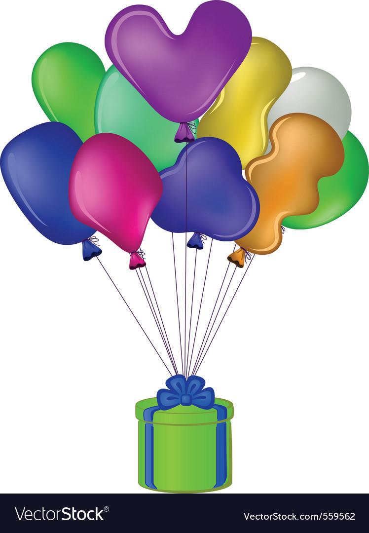 Balloon gift box vector | Price: 1 Credit (USD $1)