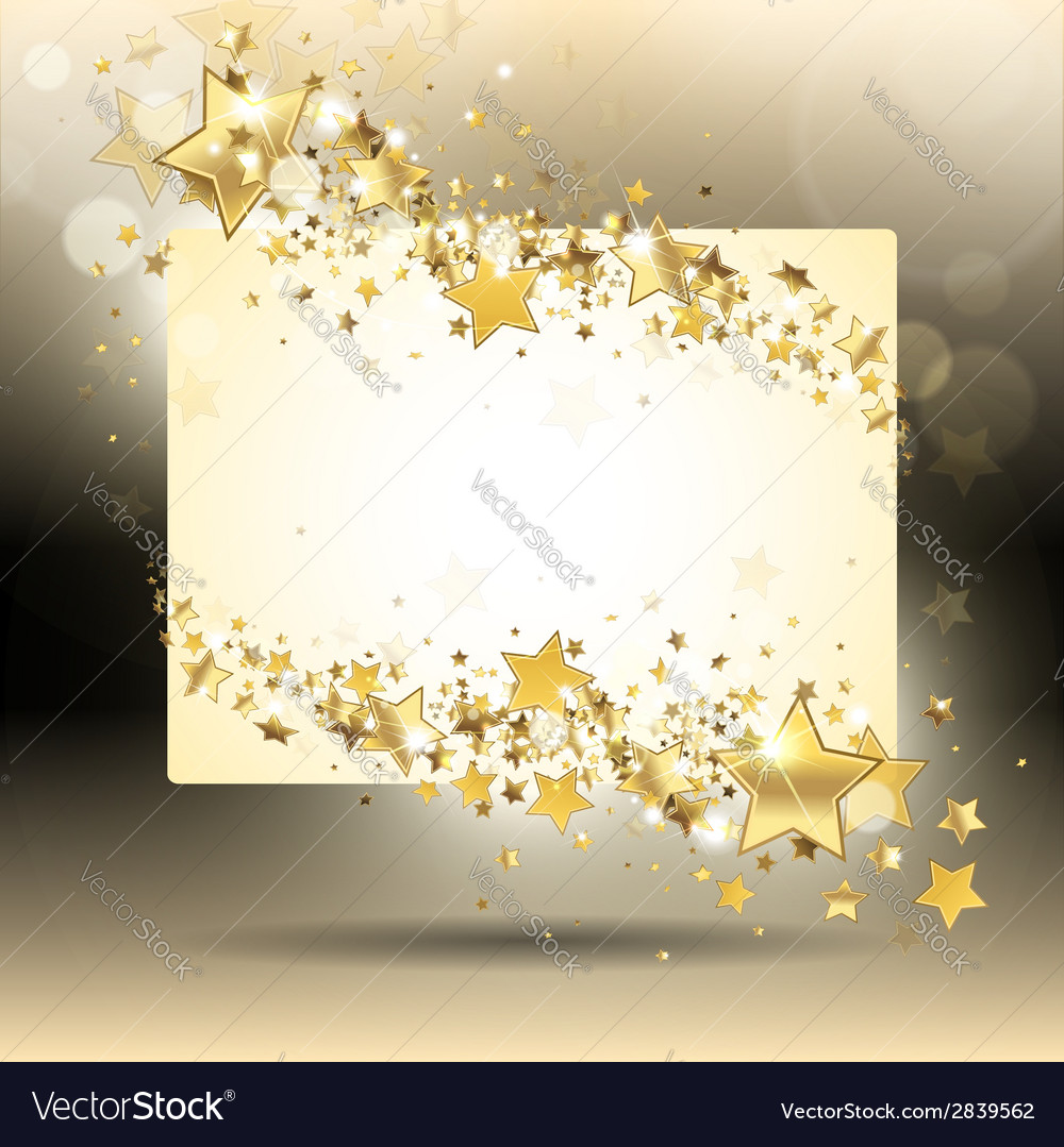 Banner with gold stars vector | Price: 1 Credit (USD $1)