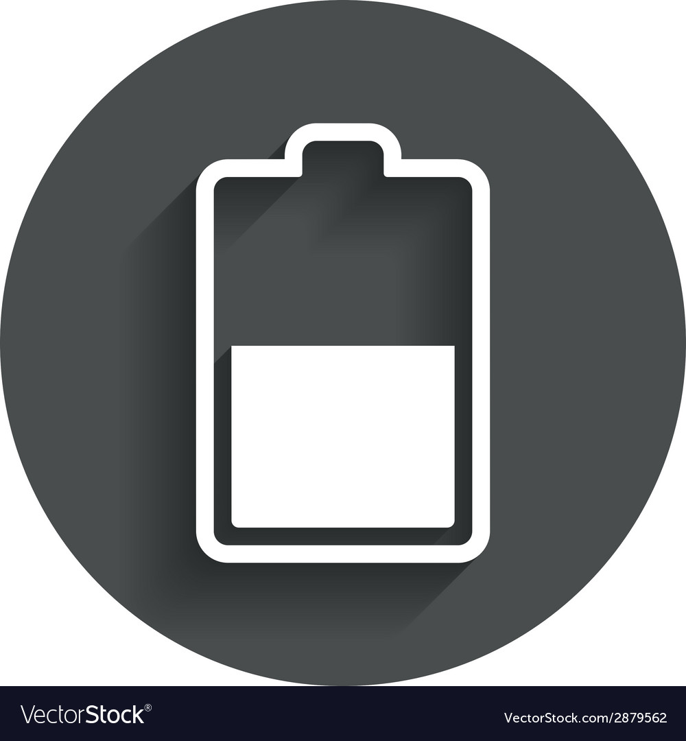 Battery half level sign icon low electricity vector | Price: 1 Credit (USD $1)