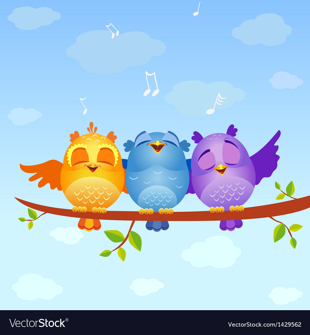 Birds sing vector | Price: 1 Credit (USD $1)