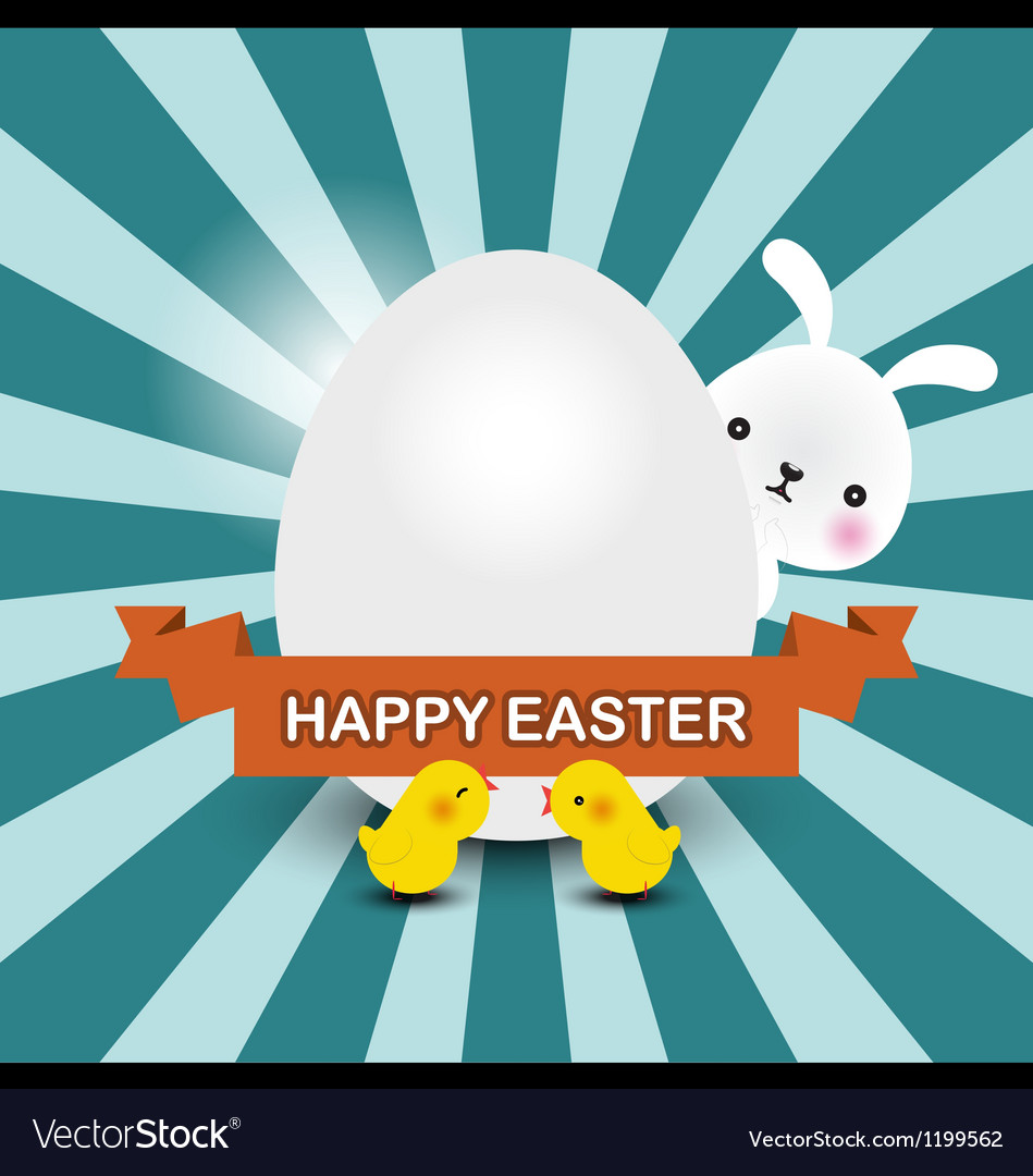 Bunny and chicks vector | Price: 1 Credit (USD $1)