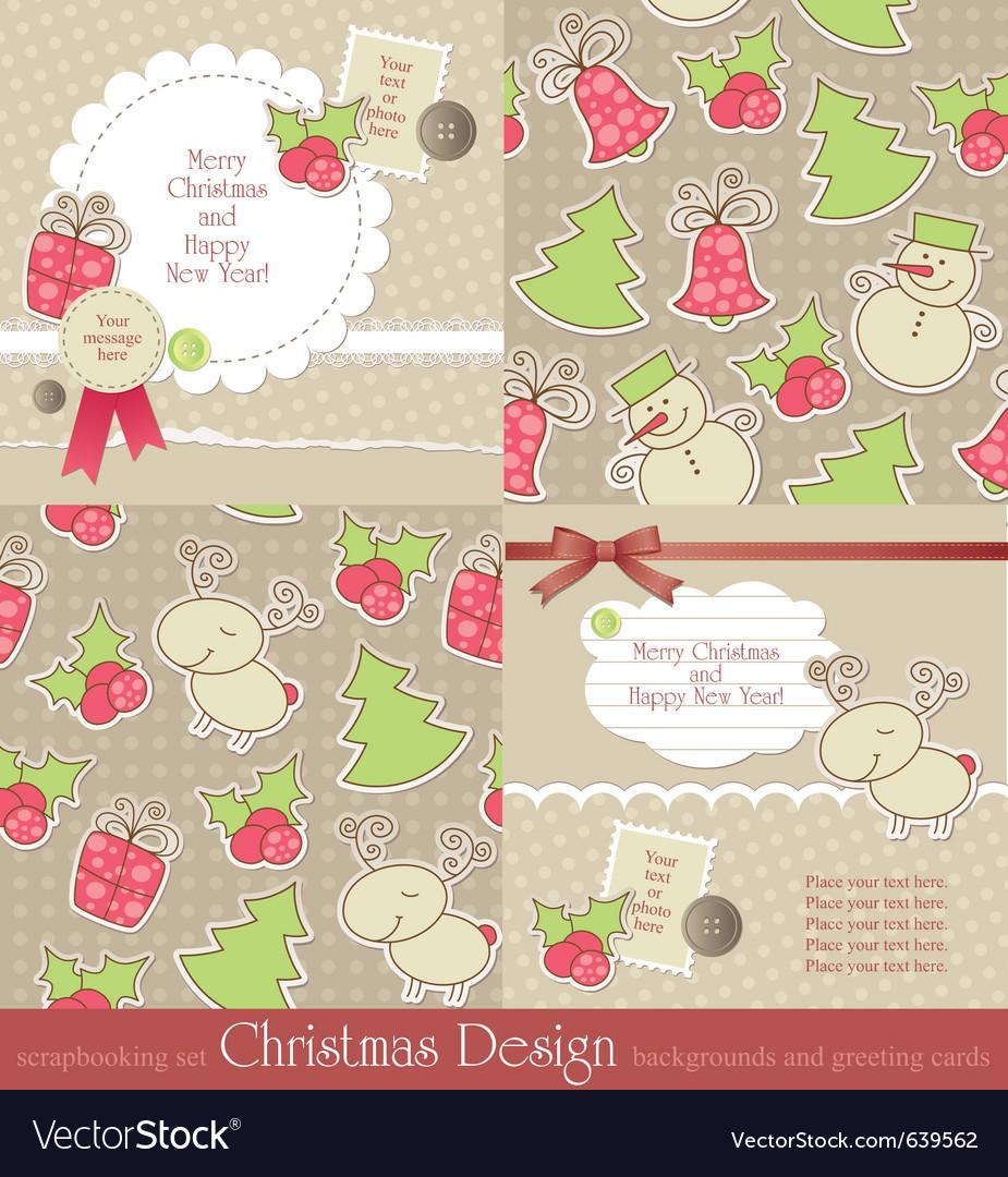 Christmas vintage set vector | Price: 1 Credit (USD $1)