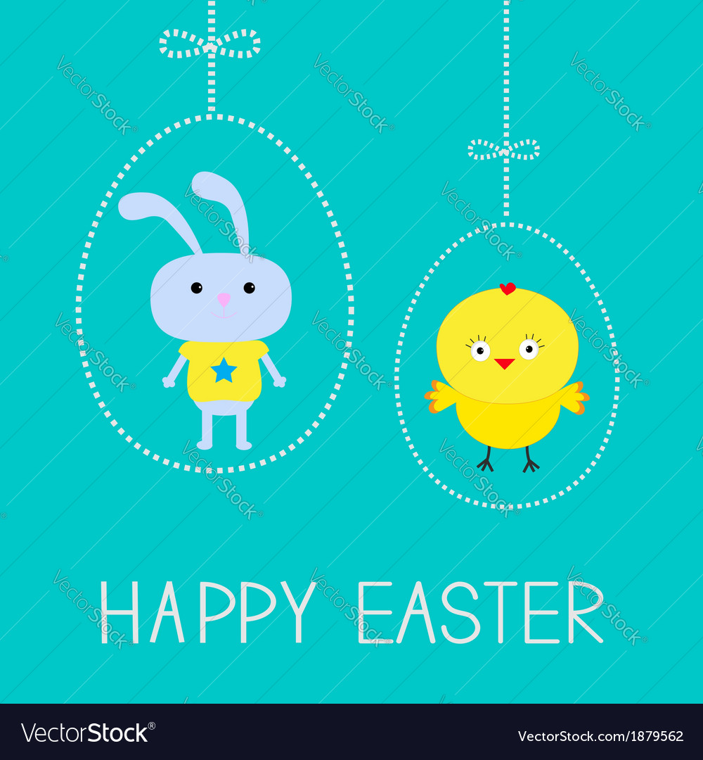 Easter chicken and bunny hanging dash eggs card vector | Price: 1 Credit (USD $1)