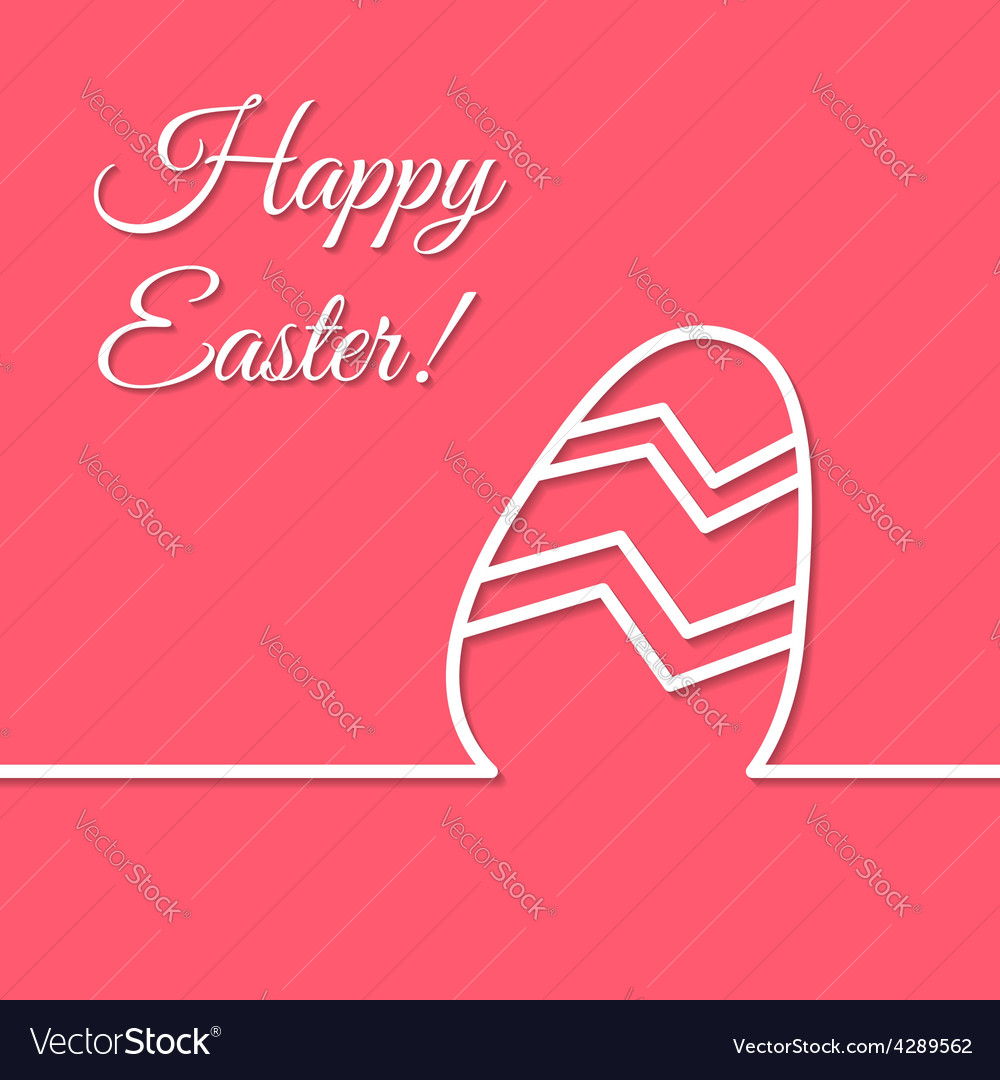 Happy easter holiday simple line egg poster vector | Price: 1 Credit (USD $1)