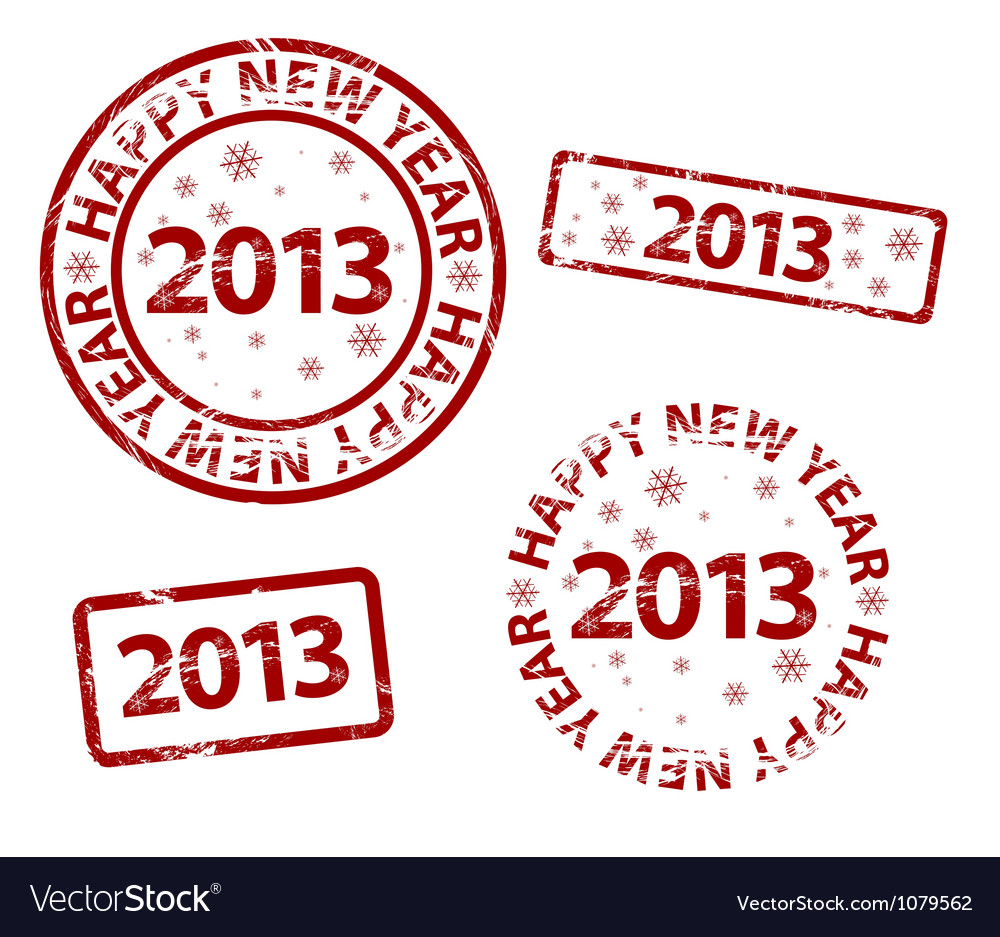 Happy new year stamp vector | Price: 1 Credit (USD $1)
