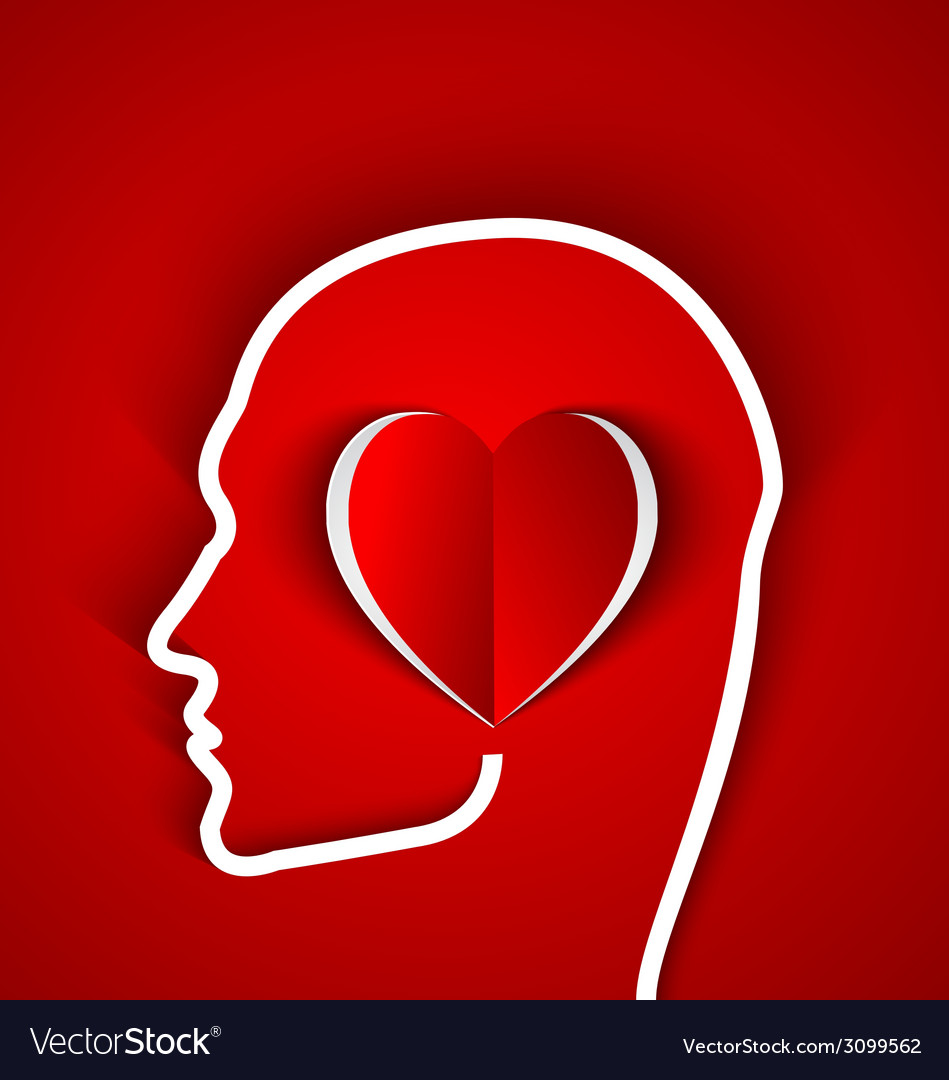 Human head with paper red heart vector | Price: 1 Credit (USD $1)