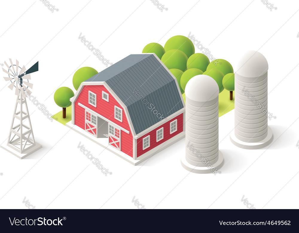 Isometric farm set vector | Price: 1 Credit (USD $1)