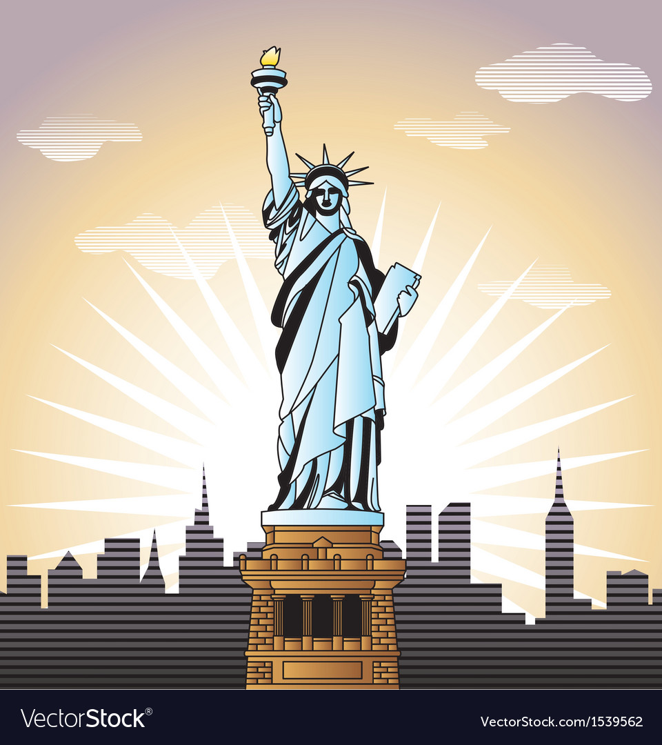 Landscape with statue of liberty in new york vector   Price: 3 Credit (USD $3)