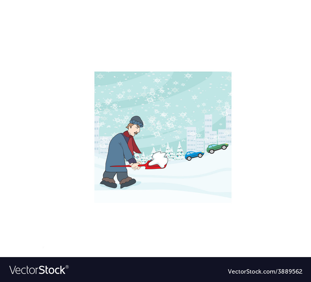 Man shoveling snow from street in winter vector | Price: 1 Credit (USD $1)