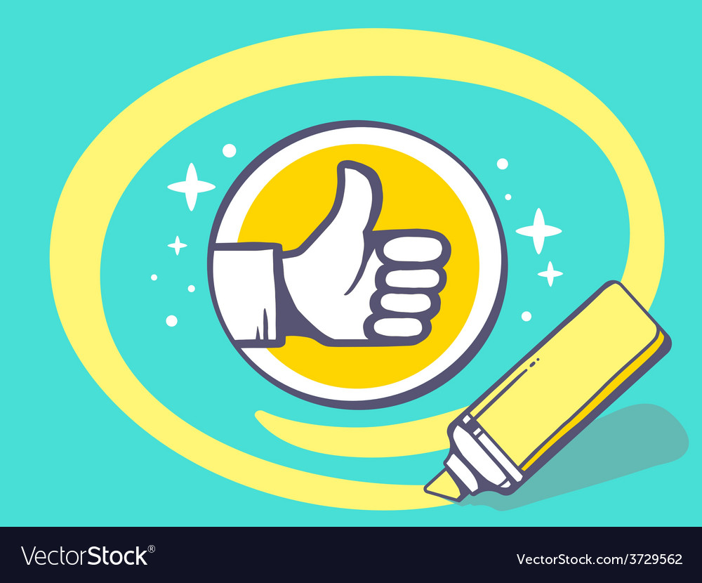 Marker drawing circle around thumb up on vector | Price: 1 Credit (USD $1)