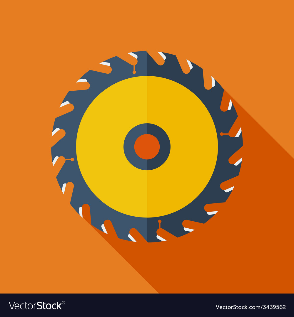 Modern flat design concept icon saw circula vector | Price: 1 Credit (USD $1)