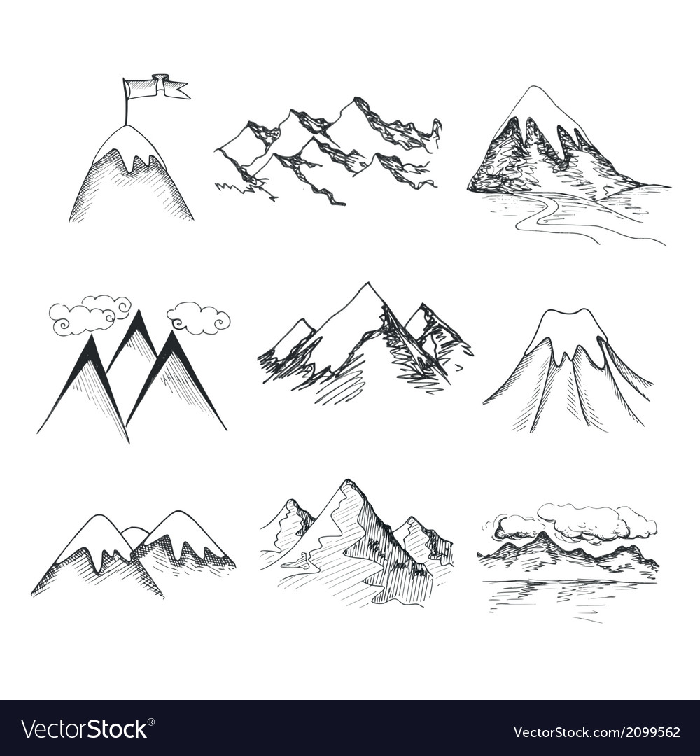 Mountain top icons vector | Price: 1 Credit (USD $1)
