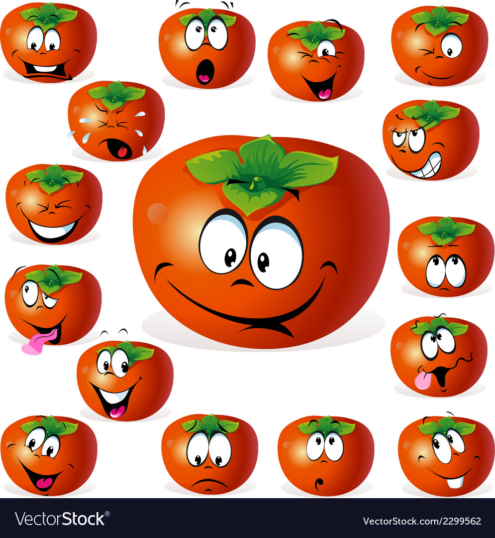 Persimmon fruit cartoon with many expressions vector | Price: 1 Credit (USD $1)