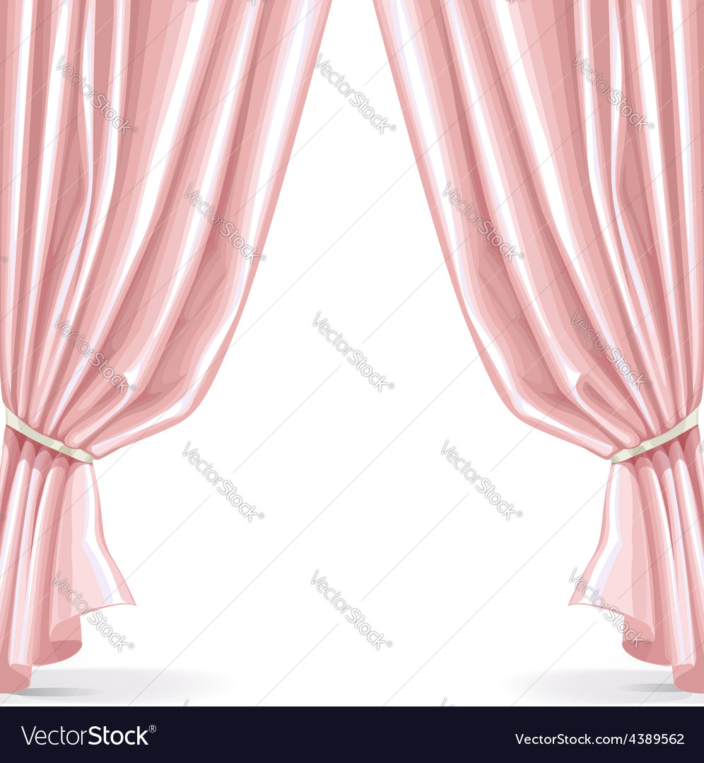 Pink curtain isolated on a white background 2 vector | Price: 3 Credit (USD $3)