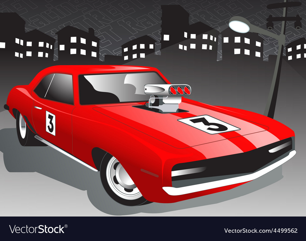 Red street car at night with super charger vector | Price: 1 Credit (USD $1)