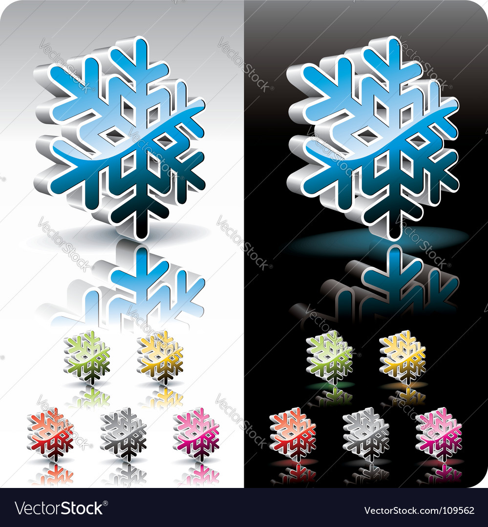 Shiny 3d snowflake button vector | Price: 1 Credit (USD $1)