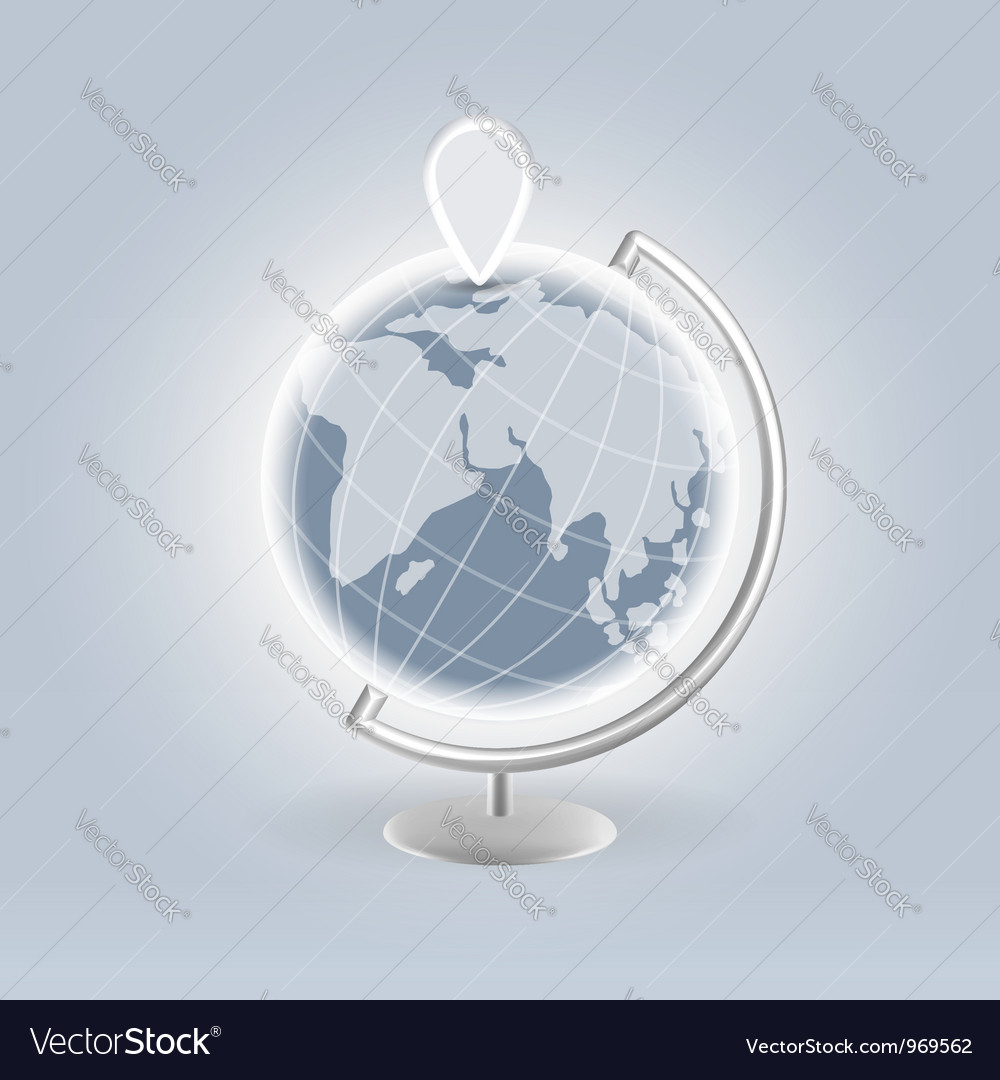 Silver earth with navigation pin vector | Price: 1 Credit (USD $1)