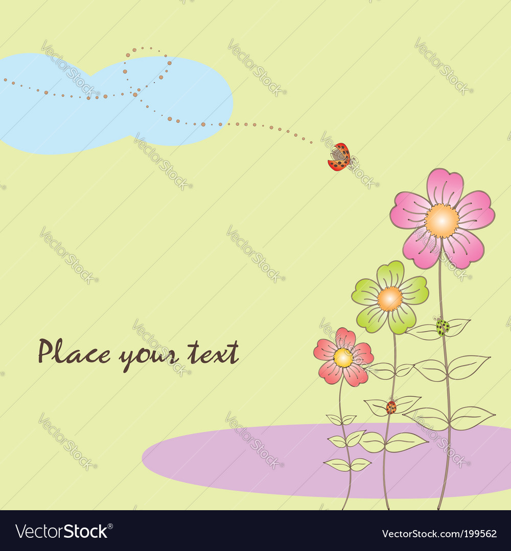Springtime flora card with ladybird vector | Price: 1 Credit (USD $1)