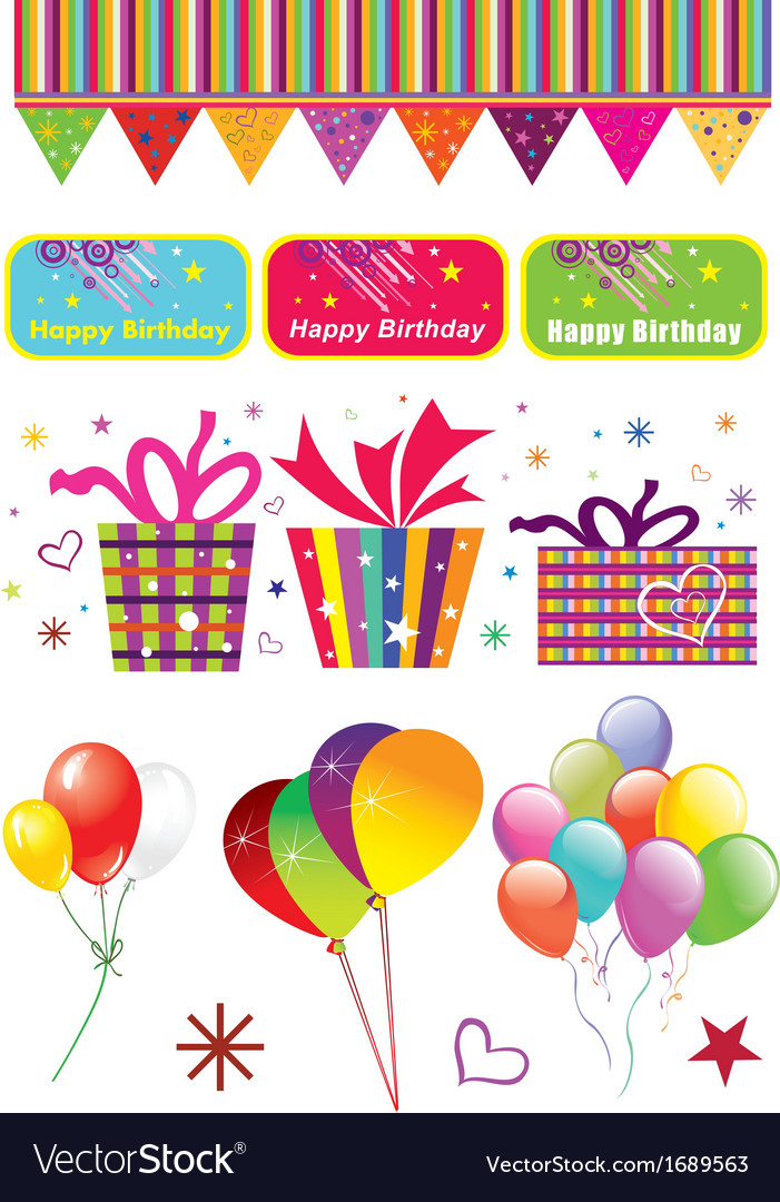 Birthday party elements vector | Price: 1 Credit (USD $1)