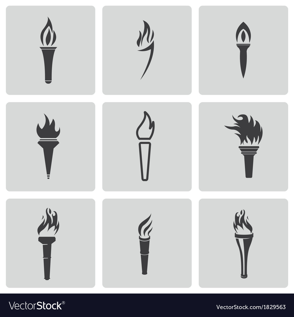 Black torch icons set vector | Price: 1 Credit (USD $1)