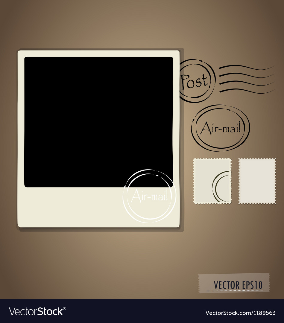 Blank grunge post stamps and photo frame vector | Price: 1 Credit (USD $1)